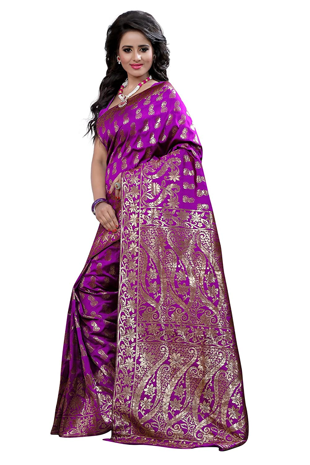 81bd22a0bc Purple woven polycotton banarasi-sarees With Blouse: Amazon.in: Clothing &  Accessories