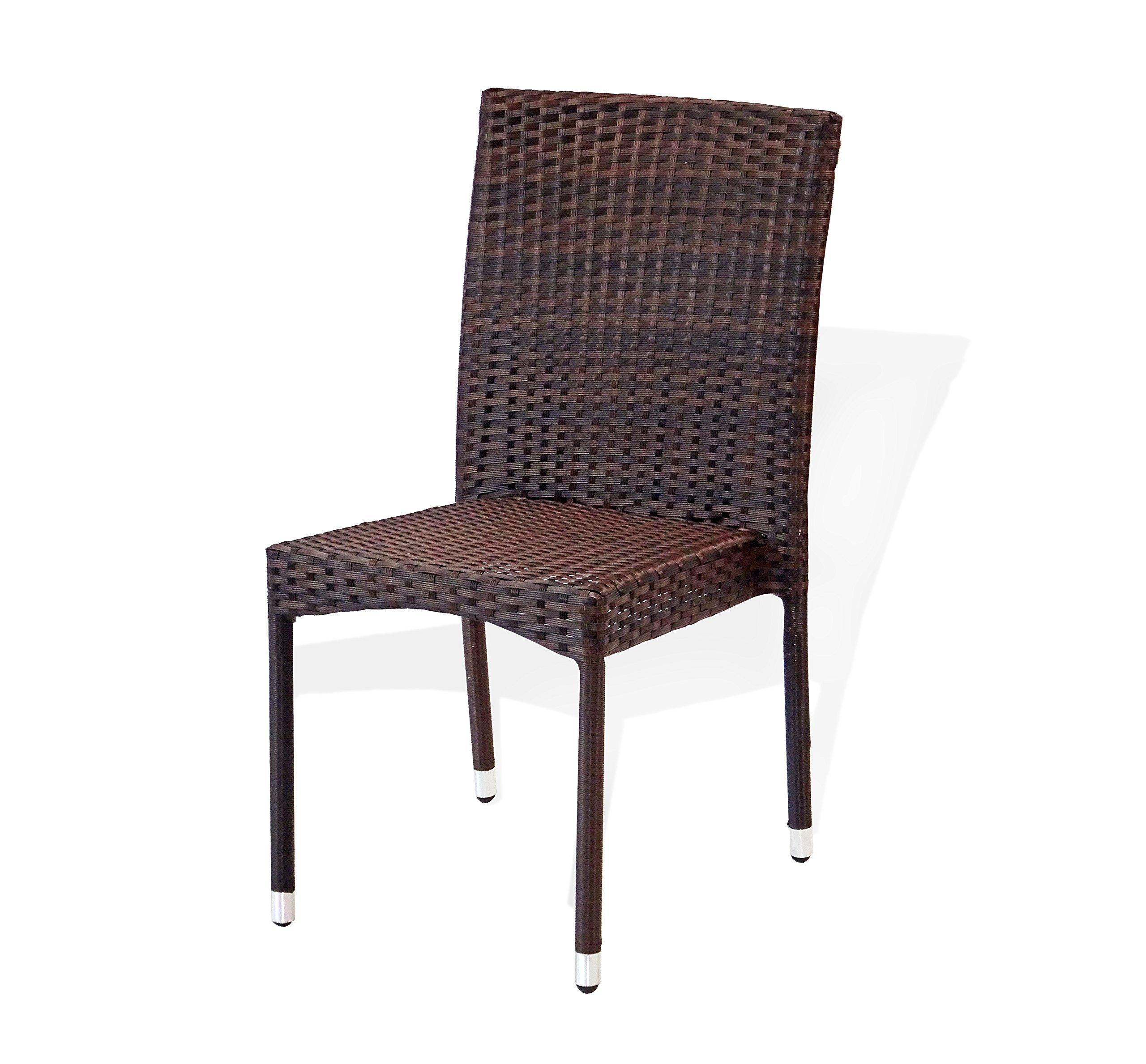 Patio Resin Outdoor Wicker Side Chair. Garden, Sunroom, Deck, Balcony Furniture. Dark Brown Color