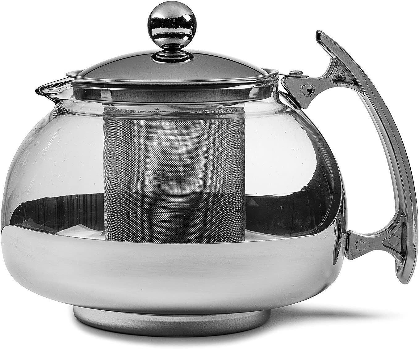 Chef's Star Premium Glass Tea Pot & Infuser - Stainless Steel, 16 oz by Chefs Star®