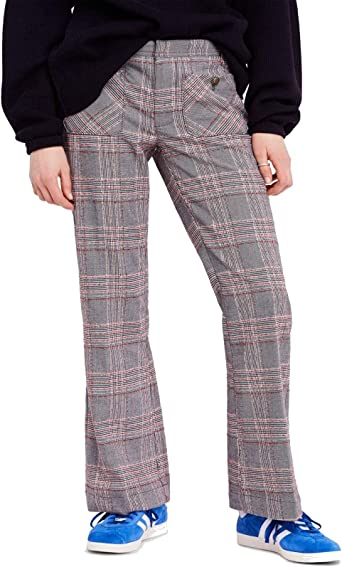 Free People Womens Plaid Flare Trouser Pants Black 4 At Amazon Women S Clothing Store