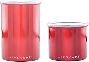 "Airscape Coffee and Food Storage Canister - Patented Airtight Lid Preserve Food Freshness, Stainless Steel Food Container, Candy Apple Red, 4"" & 7"" Set"