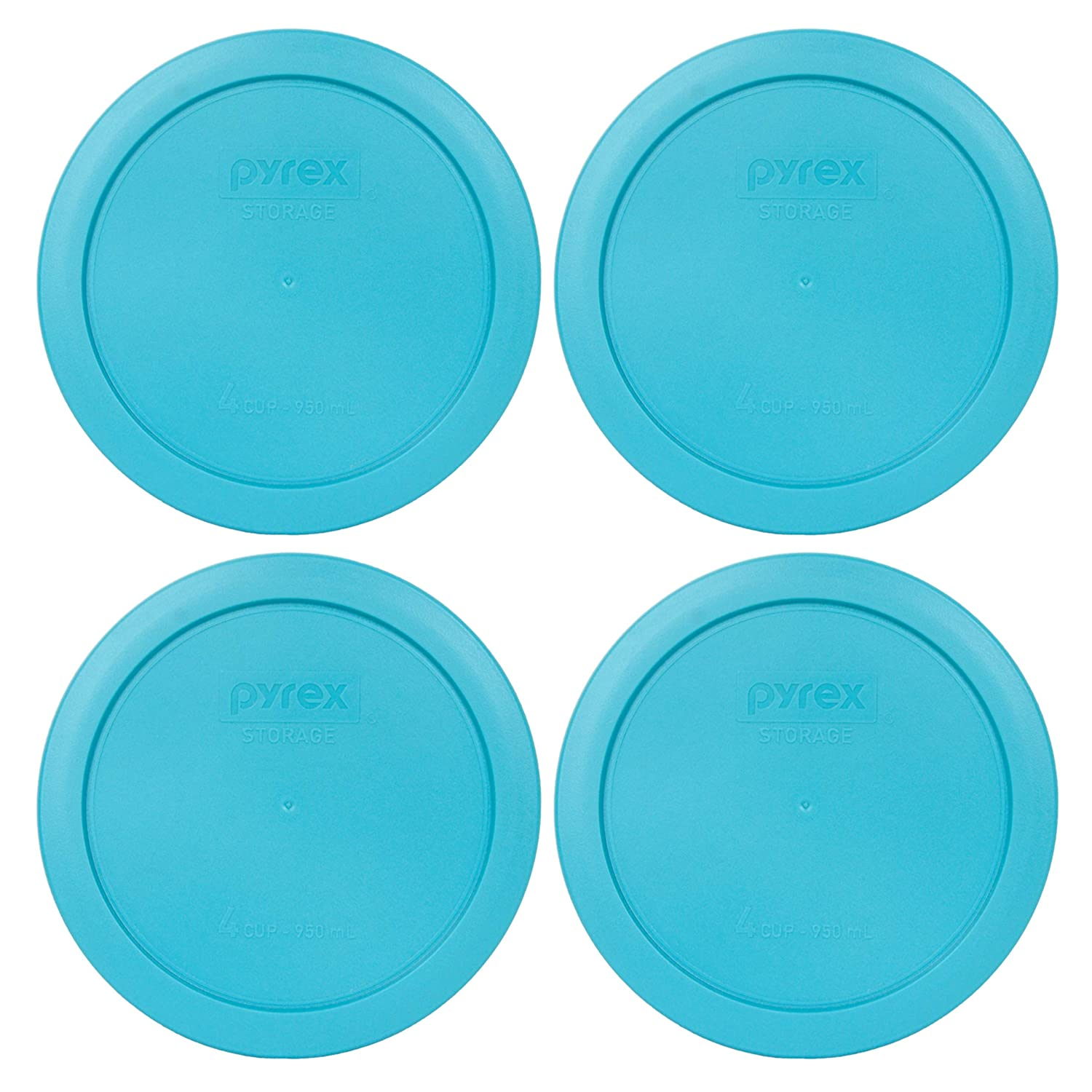 Pyrex 7201-PC 4 Cup Surf Blue Round Plastic Food Storage Lid - 4 Pack