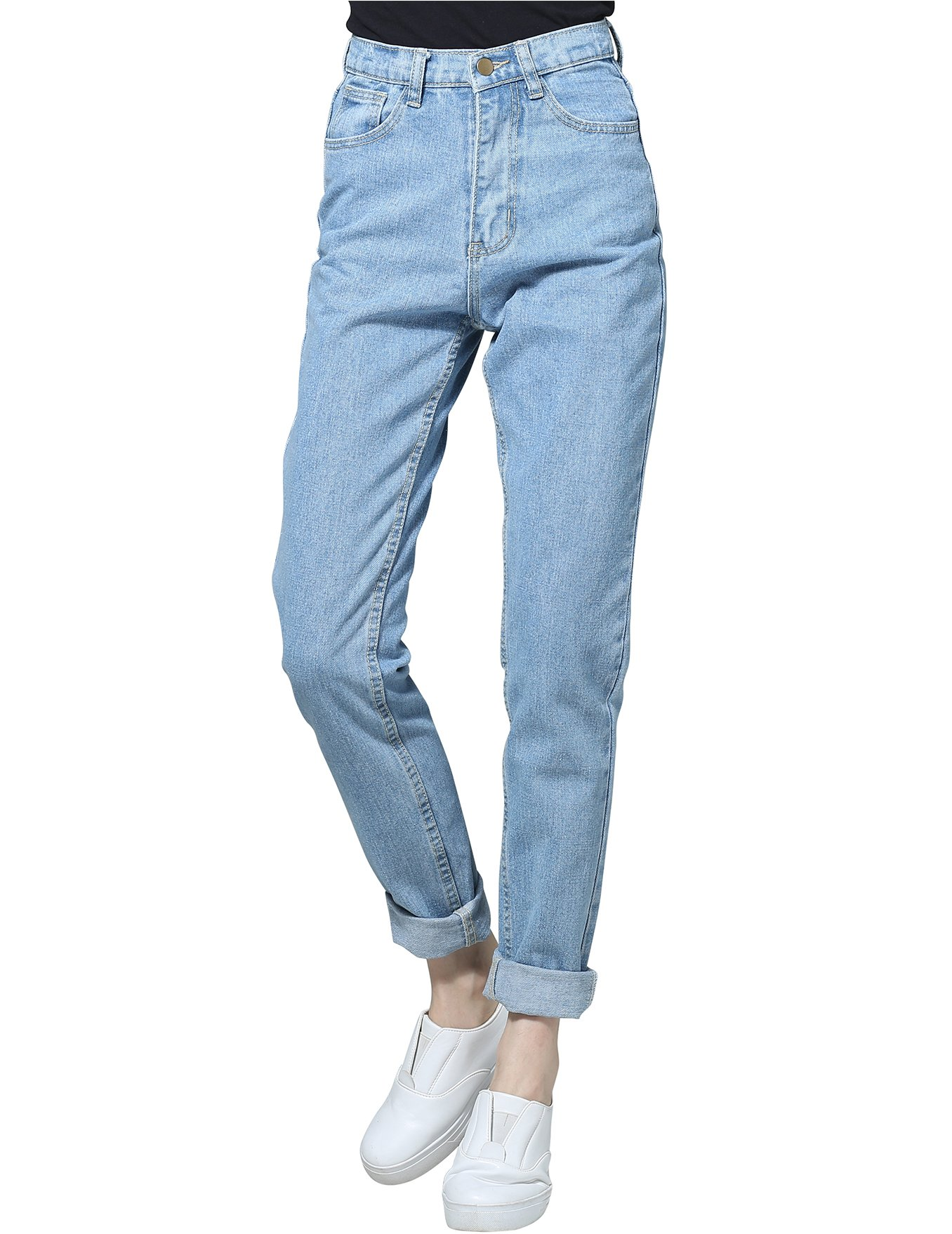 c0cf66b28 Galleon - Boyfriend Jeans For Women High Waisted Jeans Skinny Feminino  Pocket Jeans Zipper Jeans Women Light Blue 26