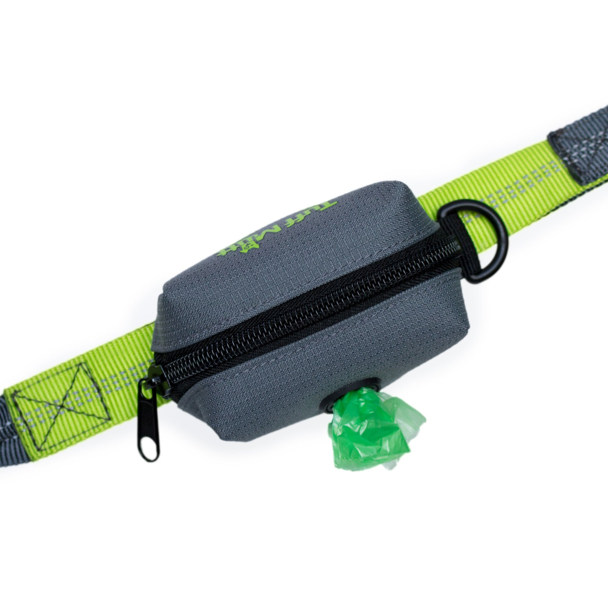 Tuff Mutt - Dog Poop Bag Holder Leash Attachment, Includes 1 Roll of Poop Bags, Waste Bag Dispenser, Lightweight Fabric, Walking, Running or Hiking Accessory