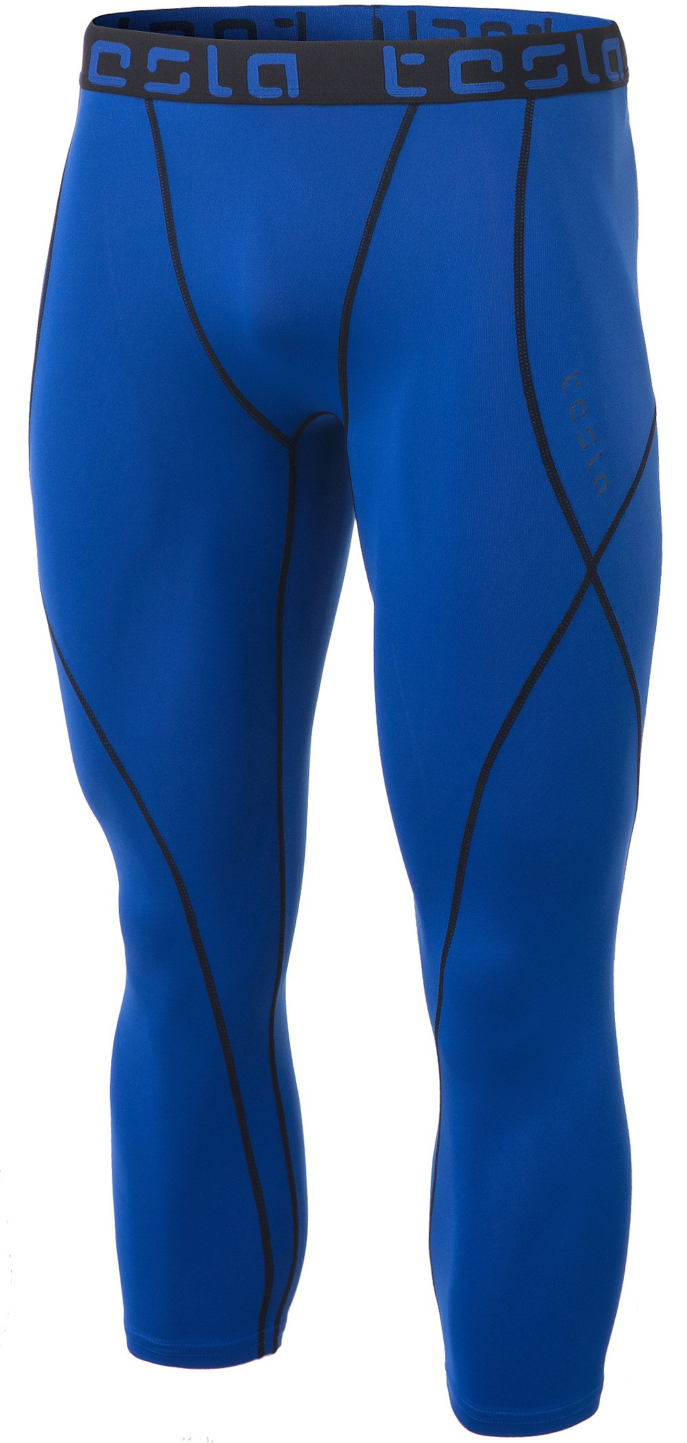 TSLA Men's Compression 3/4 Capri Pants Baselayer Cool Dry Sports Running Yoga Tights, Atheltic(muc18) - Blue, Medium. by TSLA