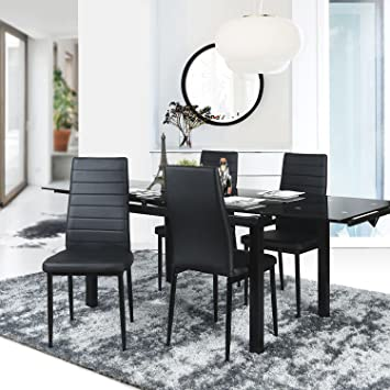 Aingoo Dining Chairs Kitchen Set Of 4 PU Leather Elegant Design High Back Home