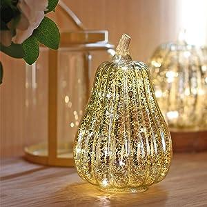 Mercury Glass Pumpkin Light with Timer for Halloween Pumpkin Decorations Fall Decor, Gold, 5.5 inches, Light Up Glass Pumpkin with Timer Halloween Decorations