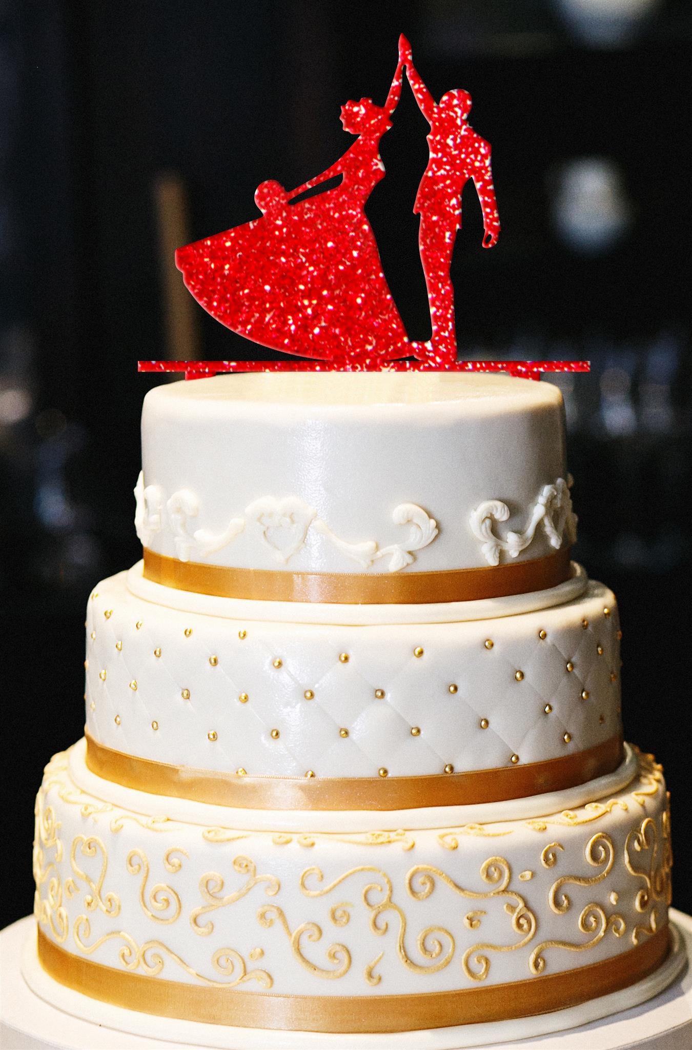 High Five Wedding Cake Topper, Wedding Cake Topper, Engagement Cake Topper, Anniversary Cake Topper, Gold Cake Topper, Gold Glitter Topper (15'', Glitter Red)