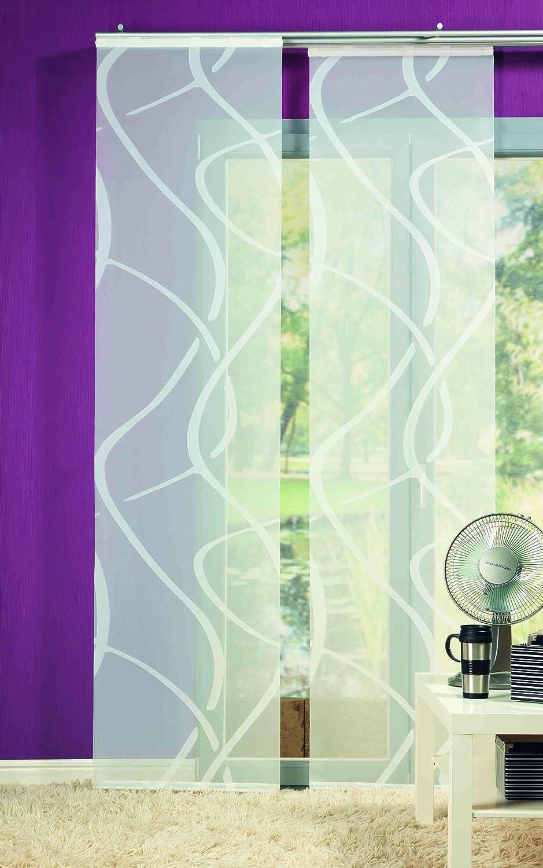 Wundervoll Wohnideenshop Flächenvorhang Wave weiss transparent 60cm breit x  WH29