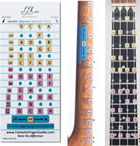 Fantastic Finger Guide for Ukulele - Music Accessories, Fretboard and Fingerboard Stickers for Learning Notes, Learn to Play Ukulele, [FRETS 1-12]