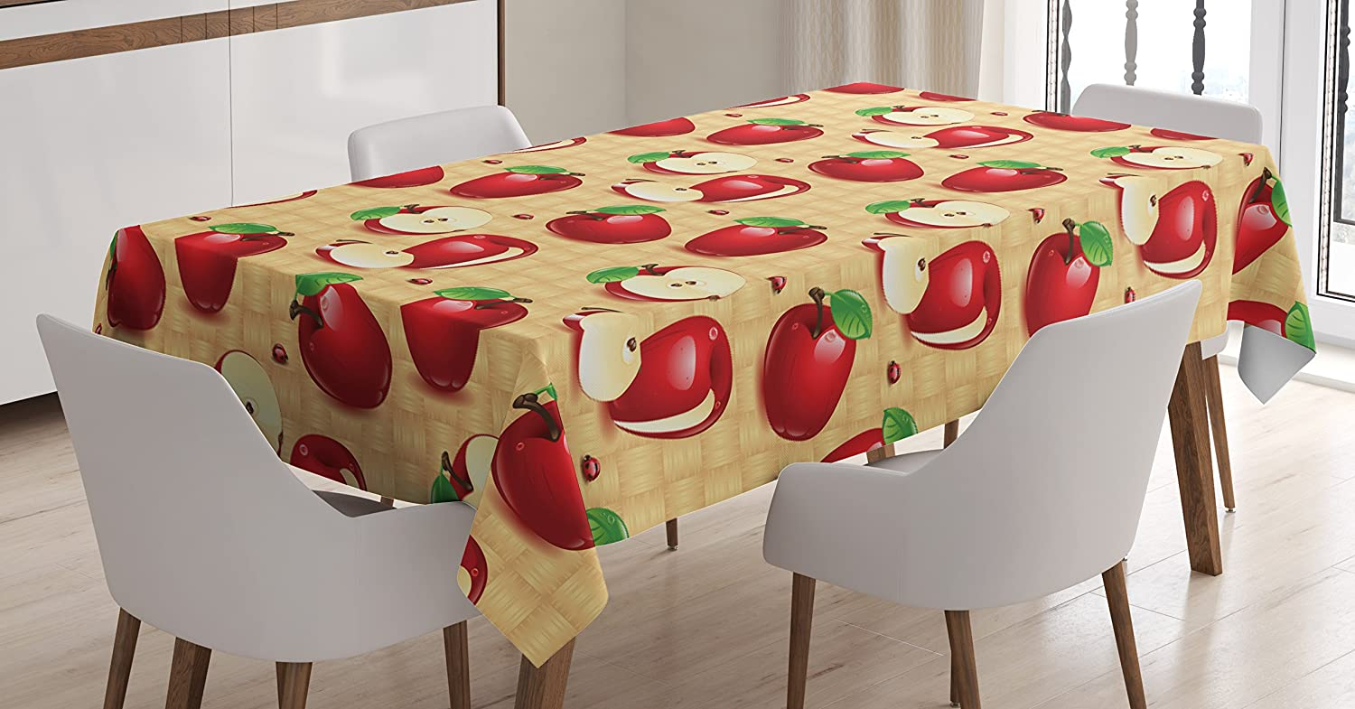 Lunarable Apple Tablecloth, Red Apples Whole and Sliced on Wicker Natural Wood Background Graphic Print, Dining Room Kitchen Rectangular Table Cover, 60 W X 84 L inches, Sand Brown Red Green