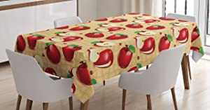 Lunarable Apple Tablecloth, Red Apples Whole and Sliced on Wicker Natural Wood Background Graphic Print, Dining Room Kitchen Rectangular Table Cover, 52 W X 70 L inches, Sand Brown Red Green