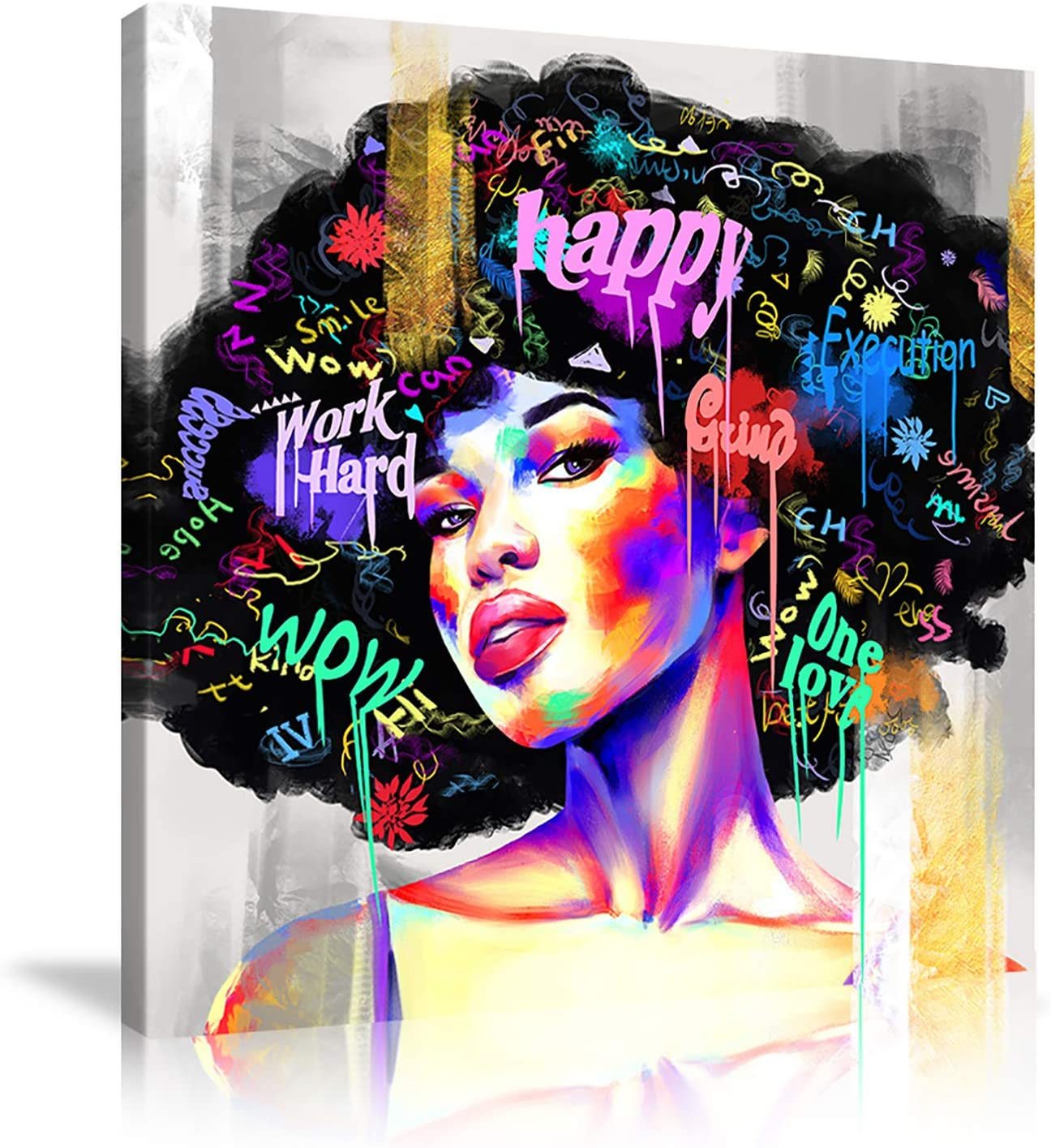 African Women Wall Art Exploding Black Canves Girls Paintin Spring new work one after another Max 48% OFF Hair
