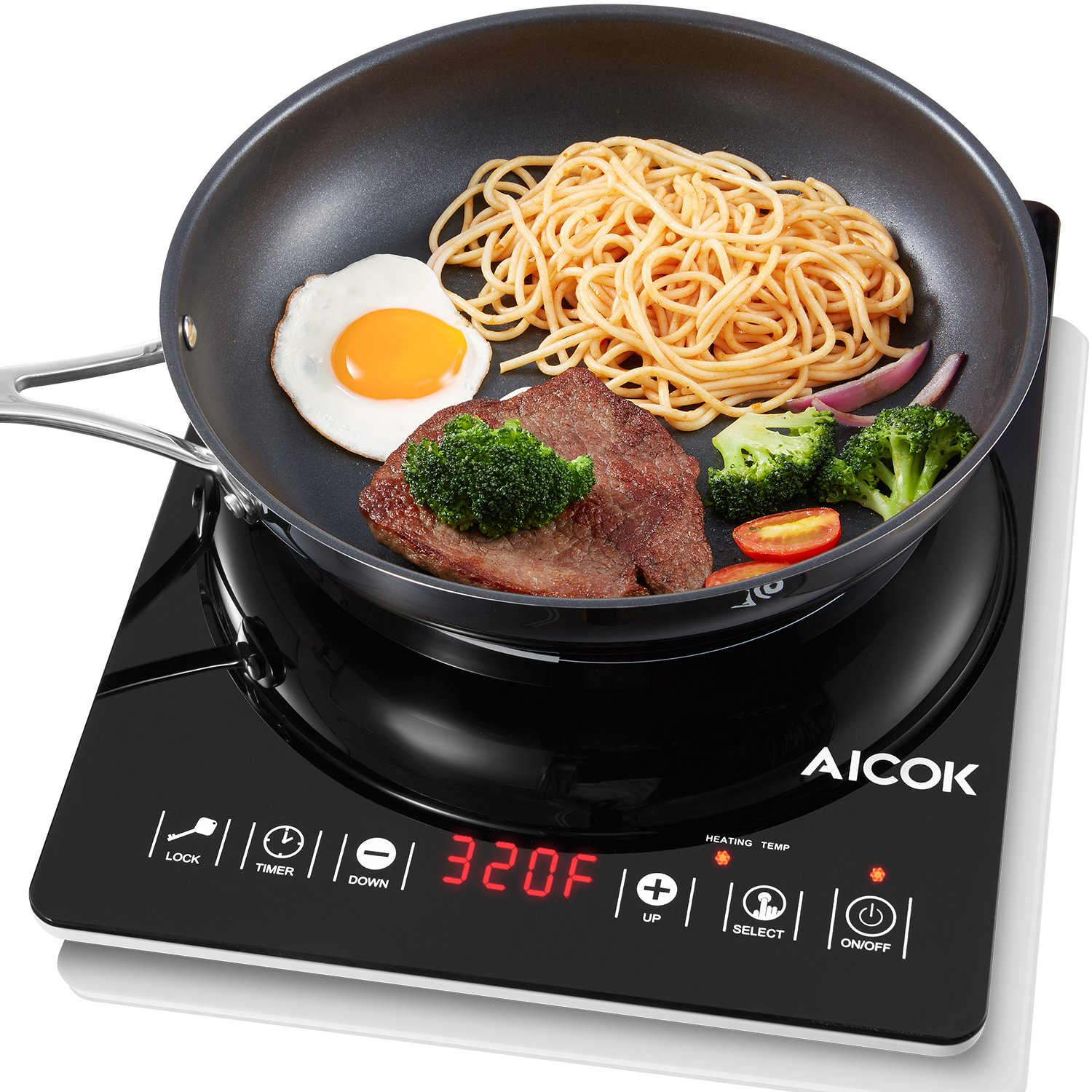 Aicok Portable Induction Cooktop, Sensor Electric Hot Plate with Ultra-Thin Design and Rapid Heat Technology, Digital Countertop Burner with Display Timer and Temperature
