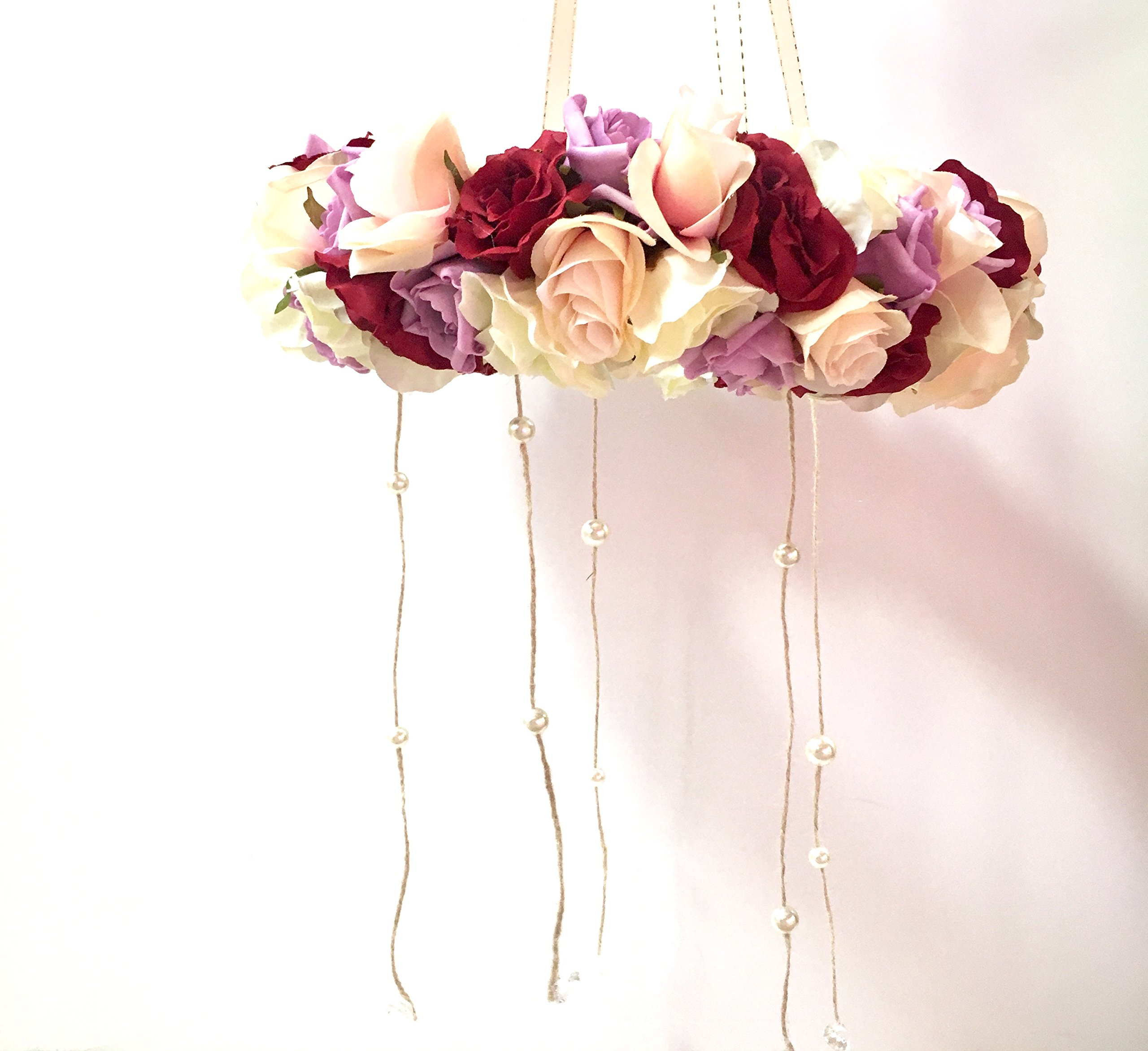 Floral Mobile, Flower Mobile, Baby Nursery Mobile, Your Choice of Colors, 12'' or 16''