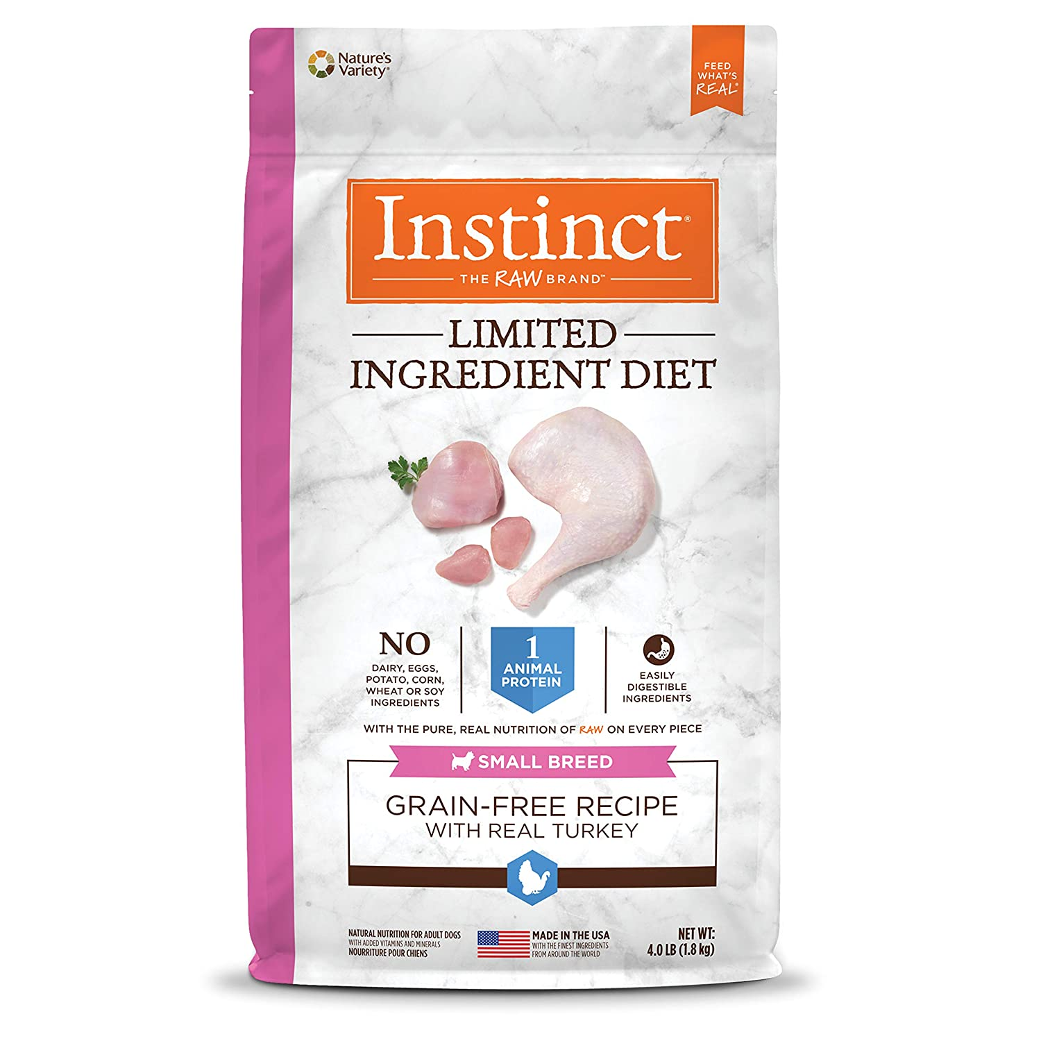 4 lb. Bag Instinct Limited Ingredient Diet Small Breed Grain Free Recipe with Real Turkey Natural Dry Dog Food by Nature's Variety, 4 lb. Bag
