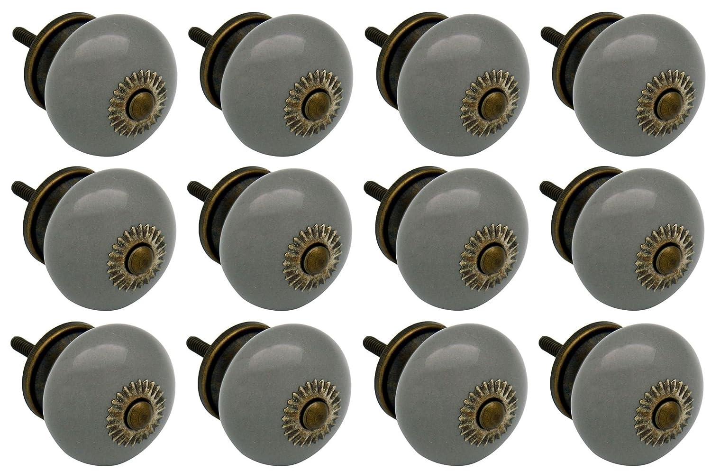 Grey Ceramic Door Knobs Cabinet Drawer Luxury Handle Set x6