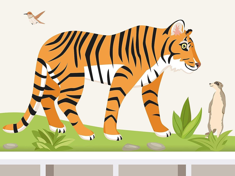 WandtattooDschungel Tiger /& Erdm/ännchen Afrika Dschungel Wandaufkleber f/ür Kinderzimmer