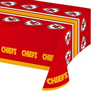 Creative Converting Officially Licensed NFL Plastic Table Cover, 54x102, Kansas City Chiefs