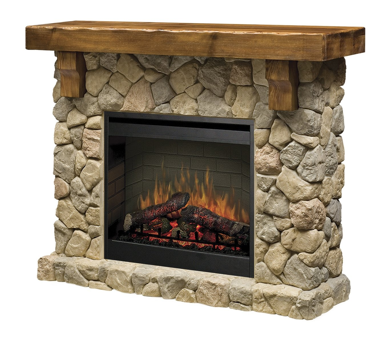 Dimplex Fieldstone Look, Pine and Electric Fireplace Mantel