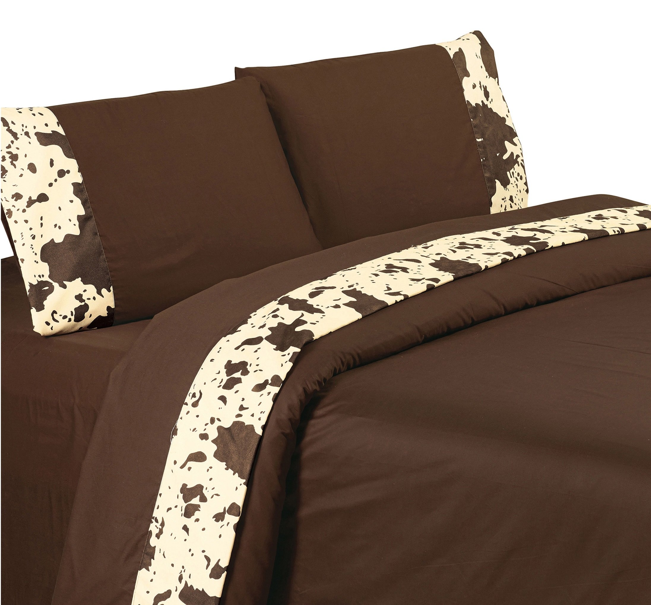 4 Piece Exotic Western Cow Prints Patterned Sheet Set Queen Size, Featuring Printed Abstract Rustic Animal Cows Bedding, Bold Vintage Earthy Design, Dark Color West County Style Bedroom, Brown, Cream