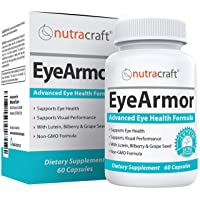EyeArmor Advanced Eye Health Supplement - Unique Formula with Lutein, Bilberry, Grape Seed Extract, Vitamin A, Zinc and More for Healthy Retinal Tissue, Reduced Eye Strain & Vision Care - 60 Capsules