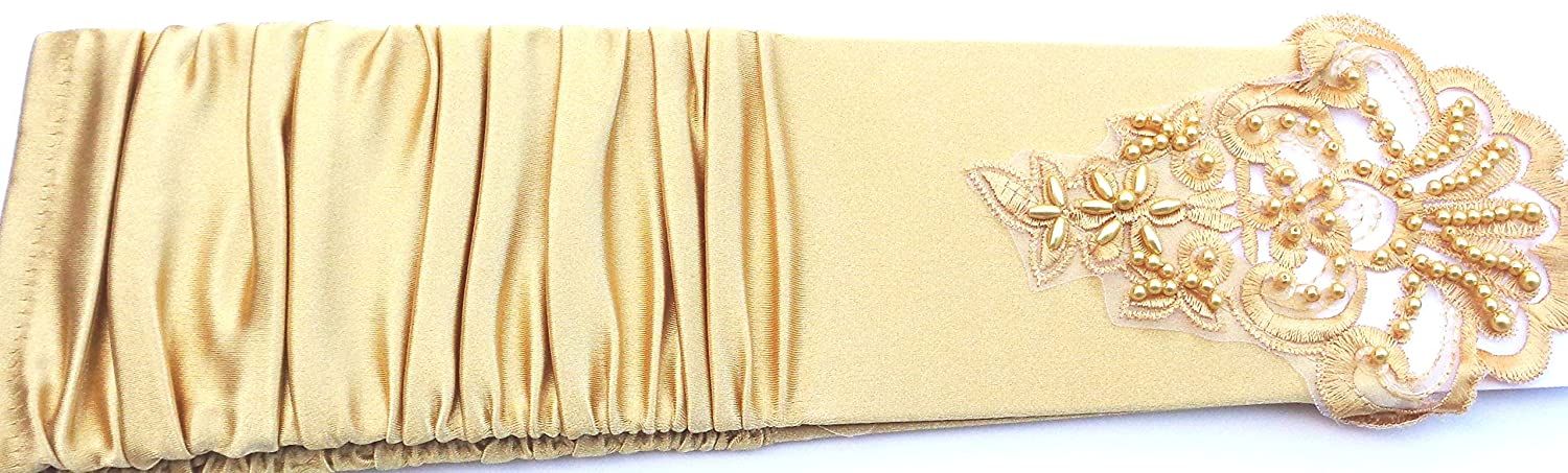 13 Inch Shiny Gold Color Spandex Fingerless Opera Wedding Prom Gloves