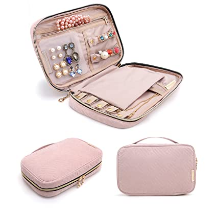 72be2d3bb5df BAGSMART Travel Jewellery Organiser Case Portable Jewelry Bag for Rings,  Necklaces, Bracelets, Earrings