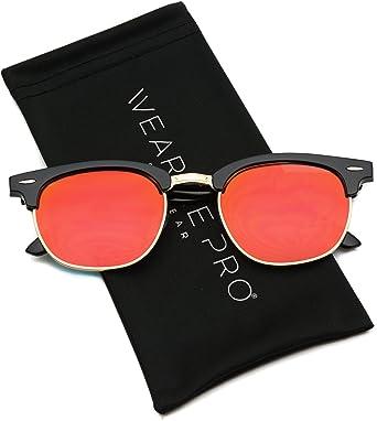 WearMe Pro - Gafas de sol estilo retro de media montura, con ...