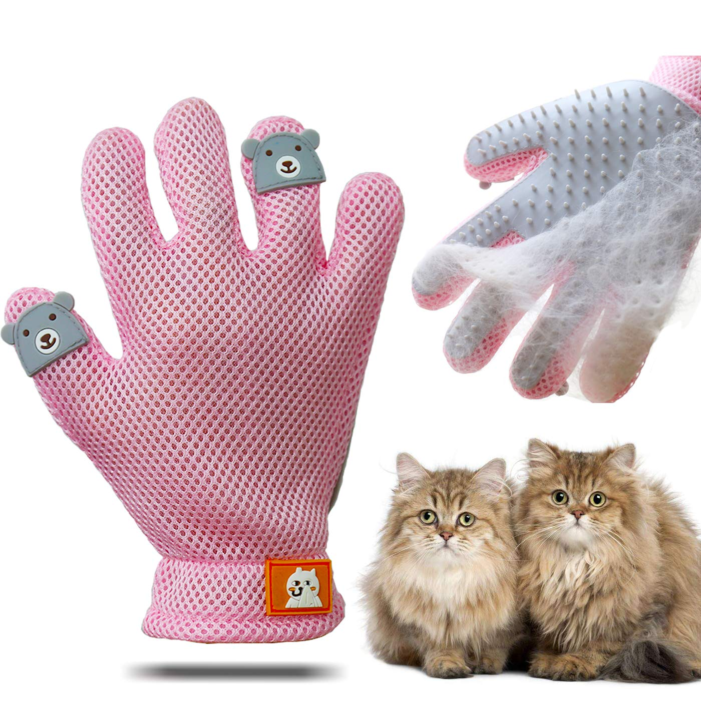 ENGERWALL 2019 New Upgraded Pet Grooming Glove - Gentle Pet Hair Remover Mitt & Dog Cat Deshedding Brush Glove, Perfect Pet Massage and Bathing Glove for Dog or Cat with Long & Short Fur (Right Hand)