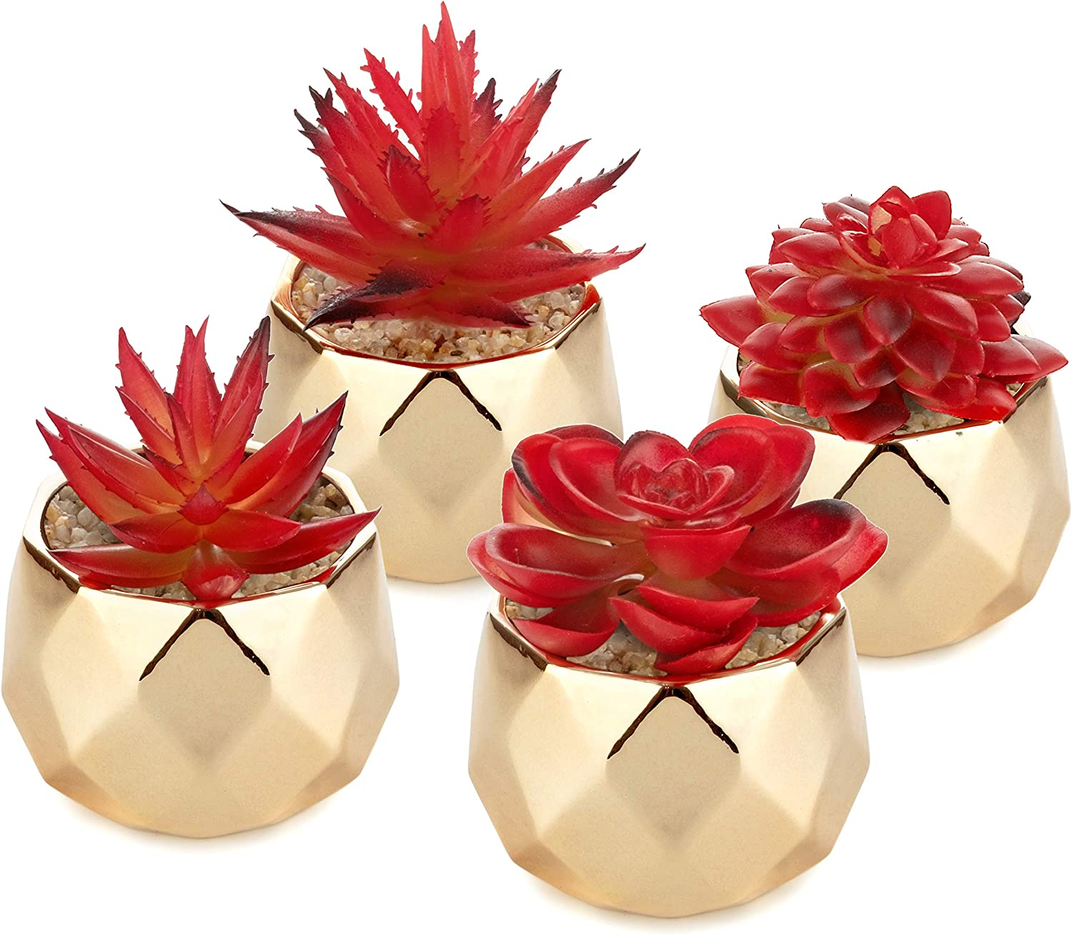 Artificial Succulents – Red Plants Shiny Gold Ceramic Pots for Home Decor - Set of 4 - 2 in/5cm Mini Planters - Perfect for Indoors and Outdoors - Living Room, Kitchen, Bathroom, Office, Desk, Bedroom