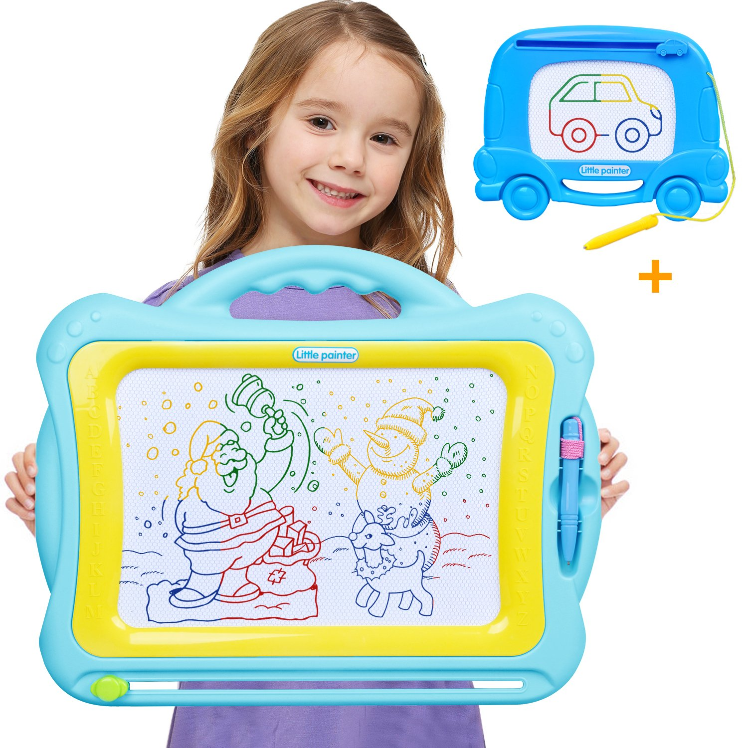Meland Set of 2 Magnetic Drawing Board - Magna Drawing Doodle Board for Kids Toddlers Boys Girls