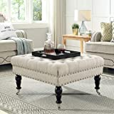 24KF Large Square Upholstered Tufted Button Linen Ottoman Coffee Table , Large Footrest Bench with Caters Rolling Wheels-Ivor