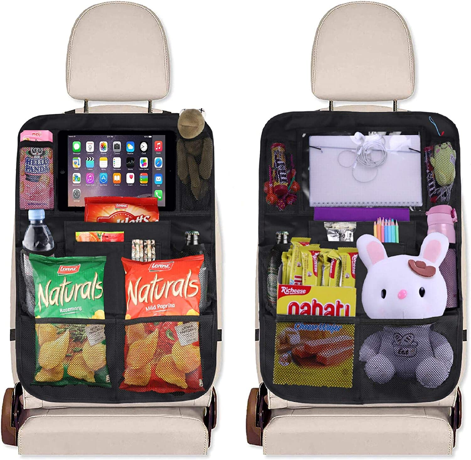 JUSTTOP Black Car Backseat Organizer with Touch Screen Tablet Holder + 9 Storage Pockets Kick Mats Car Seat Back Protectors for Kids, 2 pack