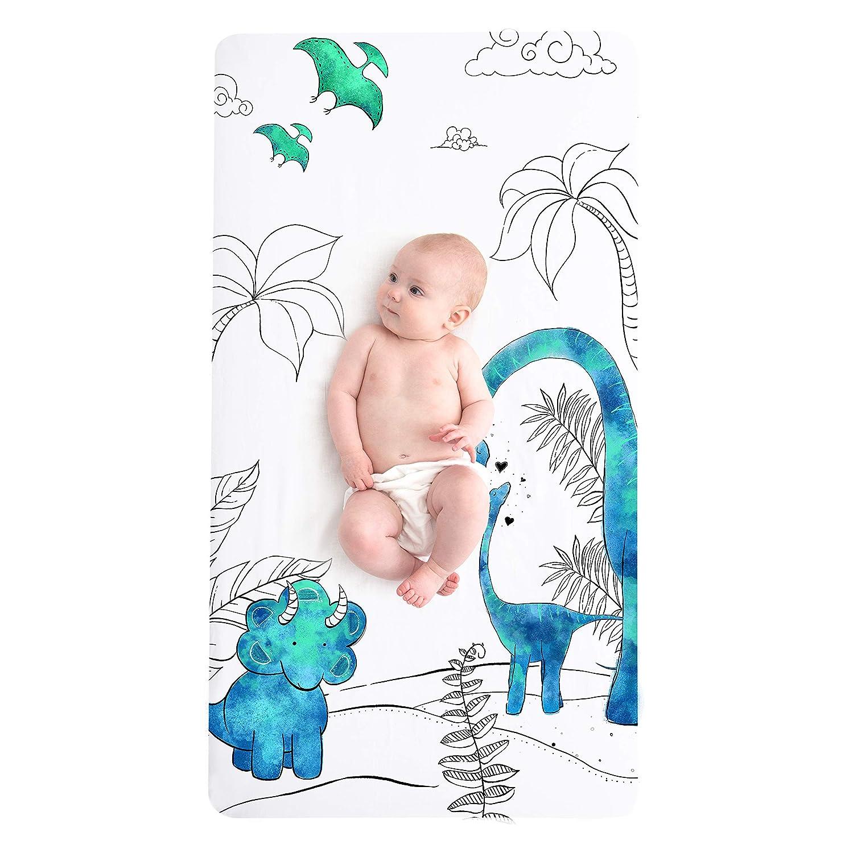 JumpOff Jo Fitted Cotton Crib Sheet Dinosaur