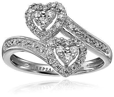 Keepsake Signature 14k White Gold Diamond Double Heart