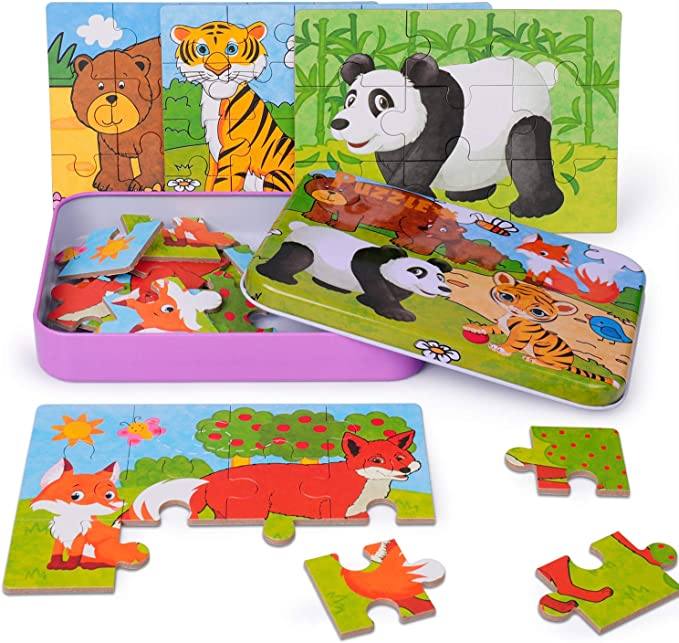 Lion Deer Elephant Leopard Preschool Puzzles for Toddler with Metal Puzzle Box 4 in 1 Jigsaw Puzzles for Kids 56-Piece Puzzles Best Gift for 3 4 5 Year Old Boys and Girls