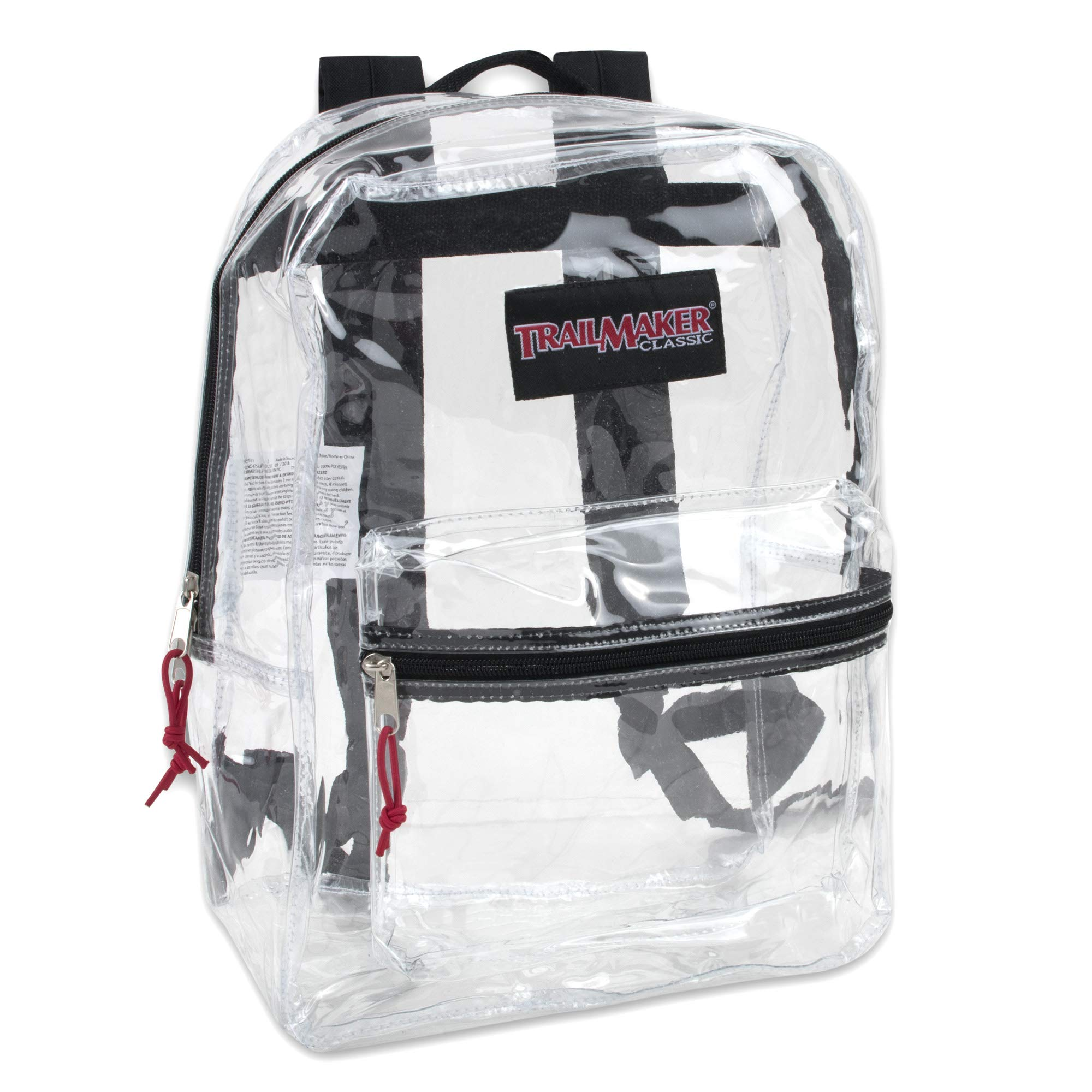 Clear Backpack With Reinforced Straps For School, Security, Sporting Events (Black) by Trail maker