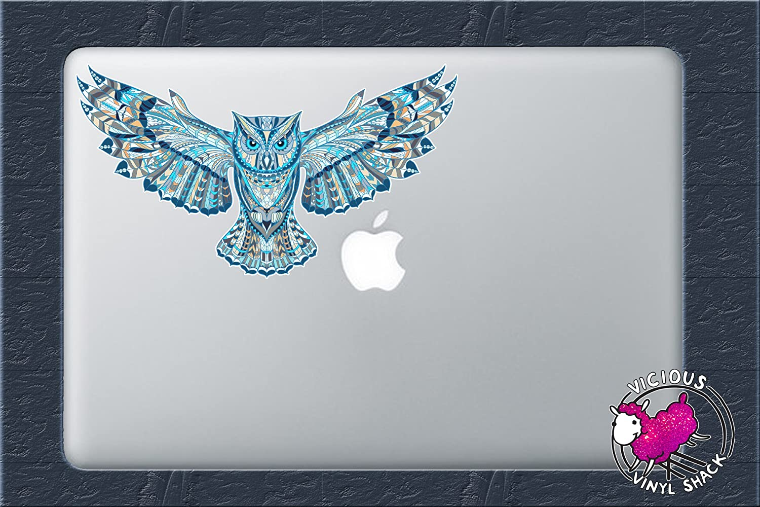Blue Pattern Flying Owl 6 Inch Color Vinyl Decal