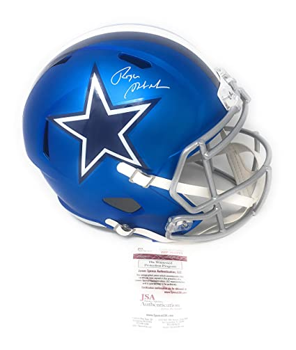38a9fa275fb Roger Staubach Dallas Cowboys Signed Autograph Full Size Blaze Speed Helmet JSA  Witnessed Certified