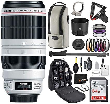 Canon EF 100-400mm f/4 5-5 6L is II USM Lens with Professional Bundle  Package Deal Kit for EOS 7D Mark II, 6D Mark II, 5D Mark IV, 5D SR, 5D S,  5D