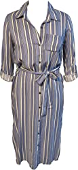 7170e4e0 Stella Tweed Womens Loose Stripe midi t Shirt Dress with Rolled Sleeves and  tie Waist