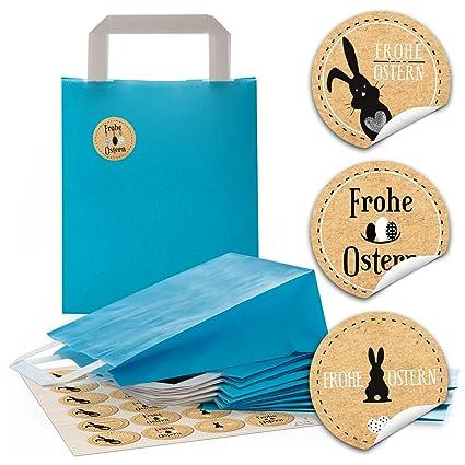 24 azules bolsas de papel de papel Bolsas Asa de bolsas ...