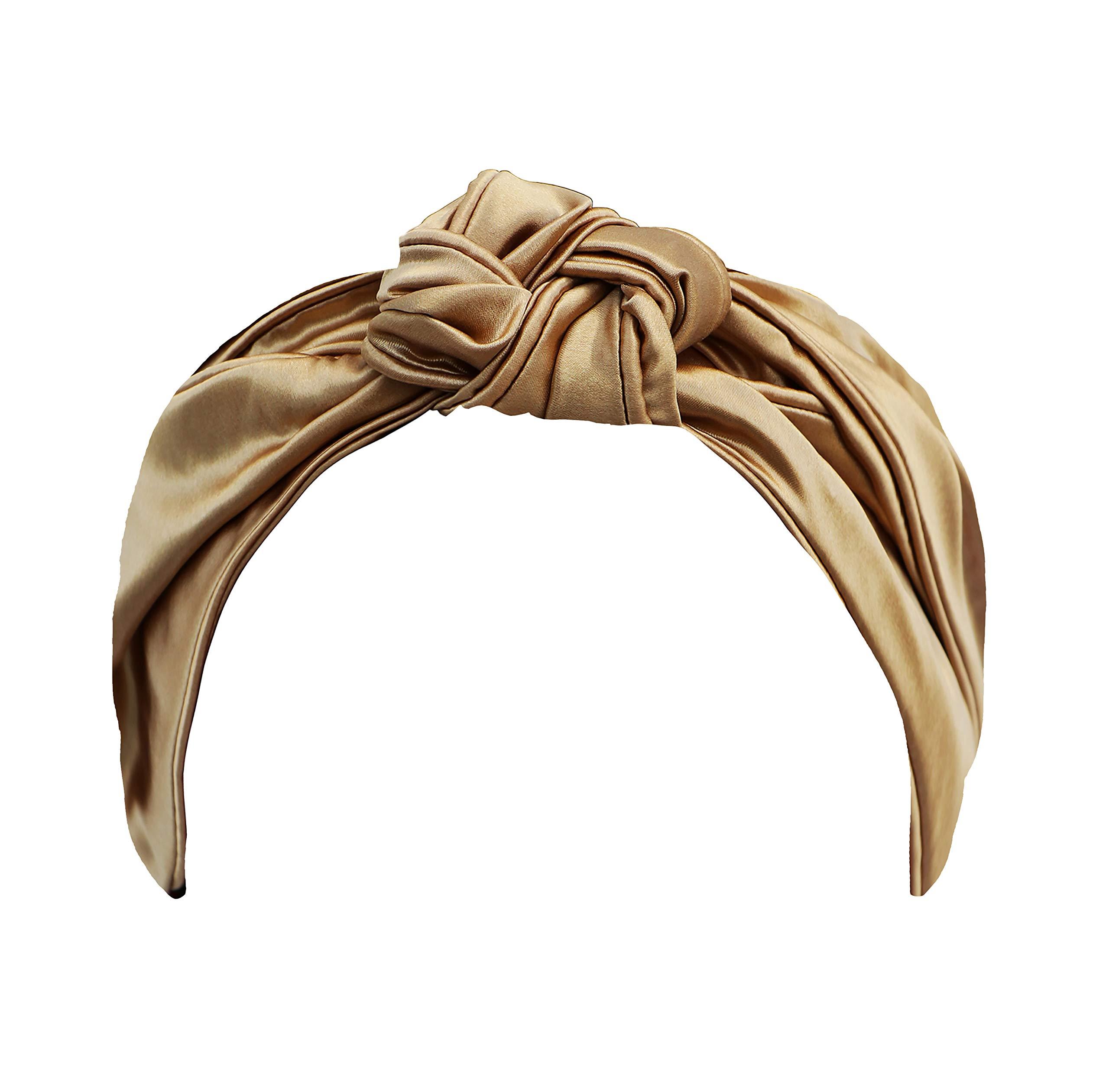 Slip Silk Knot Headband - Gold