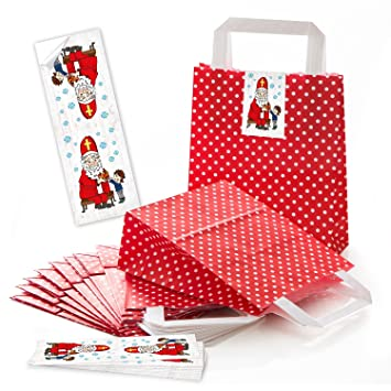 10 pequeñas bolsas de papel weihnac rojas htstüten con asa + Lunares ...