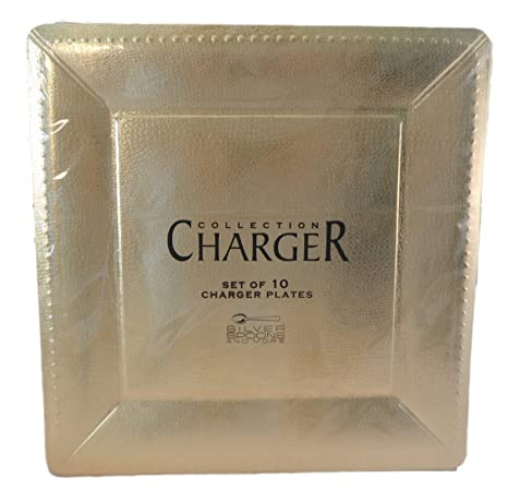 Silver Spoons 13u0026quot; Gold Square Dinner Plate Chargers - Package ...  sc 1 st  Amazon.com & Amazon.com | Silver Spoons 13
