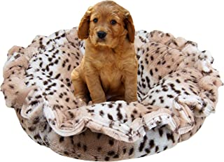 product image for Bessie and Barnie Ultra Plush Aspen Snow Leopard Luxury Deluxe Dog/Pet Cuddle Pod Bed
