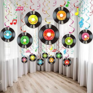 30 Pieces 1950's Rock and Roll Music Party Decorations Colorful Record Note Cutout Wall Decor Sign with Hanging Swirls Ceiling Decorations for 50's Theme Music Party Supplies Favors
