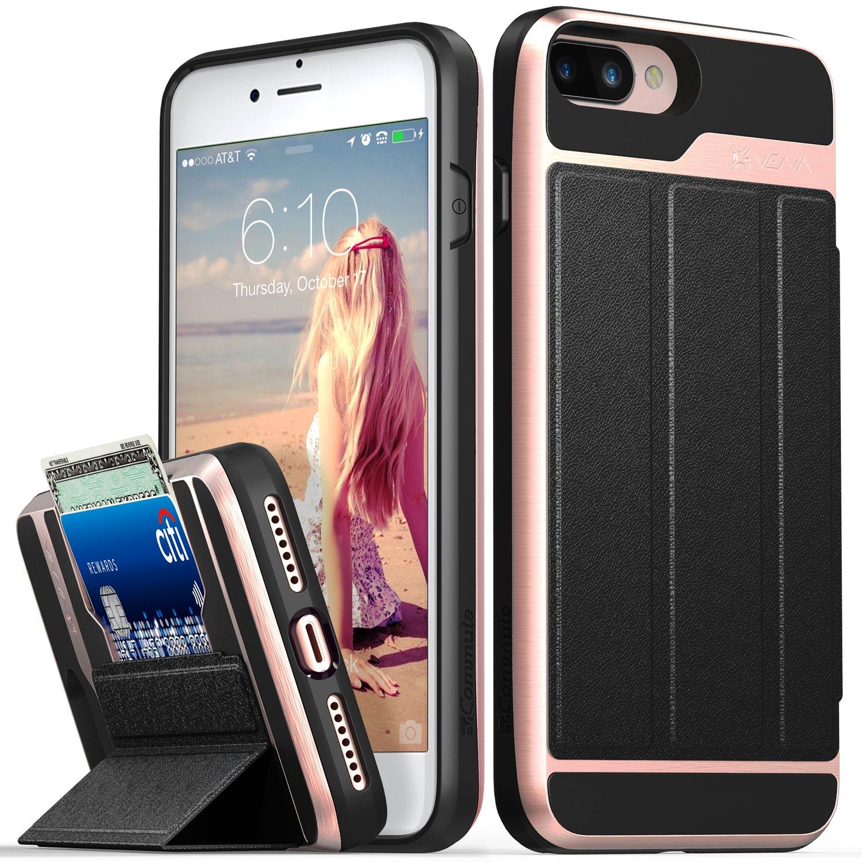 iPhone 8 Plus Wallet Case, iPhone 7 Plus Wallet Case, Vena [vCommute][Military Grade Drop Protection] Flip Leather Cover Card Slot w/KickStand for Apple iPhone 8 Plus / 7 Plus (Rose Gold/Black)