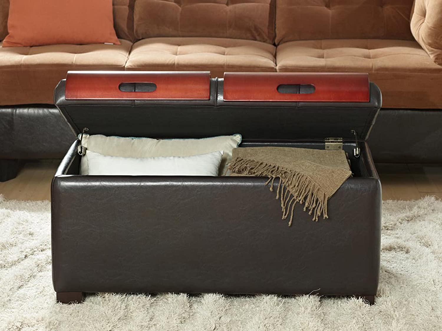 Delightful Amazon.com: Convenience Concepts Designs4Comfort Storage Ottoman With  Trays, Dark Espresso: Kitchen U0026 Dining